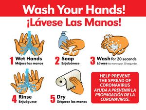 Bilingual Hand Wash Sign