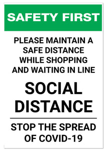 Shopping Social Distancing Sign
