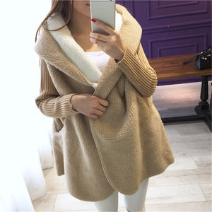 1 Kg 2020 New Arrival Loose Lamb Wool Cardigan Solid Color Hooded Long Fashion Coat Knitted Sleeve Stitching Warm Jacket Okb10