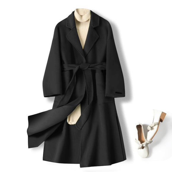 100% Wool coats 2020 winter new high-end double-sided cashmere coat women's long coats thickened black wool overcoat hepburn