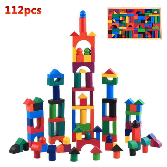 112pcs/Set wood colourful Rainbow Domino Blocks Building Toy Early training Toys for child Kids Dominoes Games Gifts
