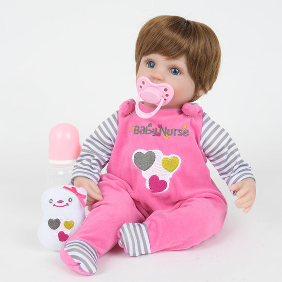 18inches 42CM  reborn baby doll Bonecas Baby Reborn realistic magnetized pacifier bebe doll reborn for girl Gifts toys