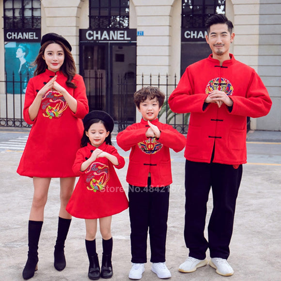 2020 Chinese New Year Tang Suit Family Matching Outfits Red Mom Daughter Cheongsam Dress Man Kids Boys Hanfu Jacket Tops