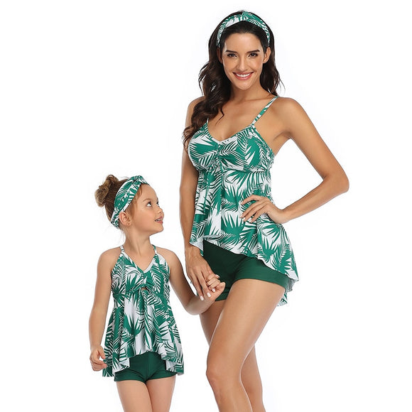 2020 Family Mother Daughter Bikini Swimsuit New Summer Green Leaf Print Swimwear Women Kids Girls Tankini Beachwear Bathing Suit