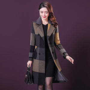 2020 New Women Plaid Coat V Neck A Shape Pattern Woolen Cloak For Winter Autumn Knee Length Slim Beautiful Outwear Plus Size