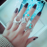 6pcs/Set Bohemia Silver Moon Hippocampi Wave Rings Set rock crystal diamond