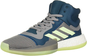 adidas Men's Marquee Boost Low Basketball Shoe Tech Mineral/Glow Green/Grey