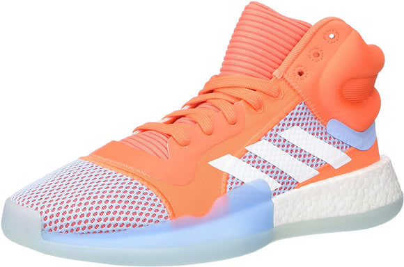 adidas Men's Marquee Boost Low Basketball Shoe Hi-res Coral/White/Glow Blue