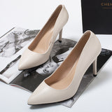 A generation of high heels shoes women's fine with    very short pointed comfortable master work shoes leather