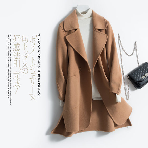 Autumn Winter 100% Wool Cashmere Coat Korean Sided Woolen Jacket Women Clothes 2020 Spring Long Overcoat Overcoat LWL1410