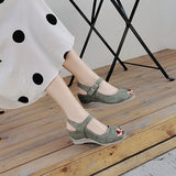 CINESSD Women Shoes Platform Sandals Women Peep Toe High Wedges Heel Ankle Buckles Sandalia Leather Female Sandals Shoes