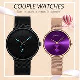 CRRJU Lover Watch Fashion Waterproof Stainless Steel Mesh Couple Wristwatches the Best Valentines Day Gifts for Lover Hot Sale