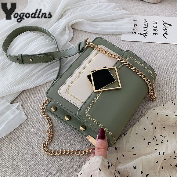 Chic Contrast Color Flap Messenger Bags for Women Magnetic Buckle Design Single Shoulder Bags Ladies Clutch Purse Trendy Rivet