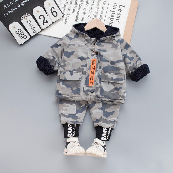 Children Clothing Autumn Winter Toddler Boys Clothes Velvet Warm Camouflage Letter Outfit Kids Suit Costume for Boy Set