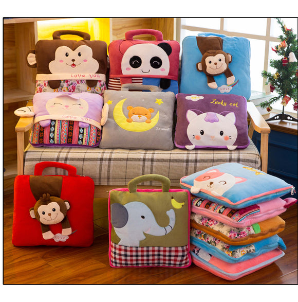 Creative cartoon dual-use air conditioning pillow pillow children plush toys foreign trade gifts logo wholesale custom