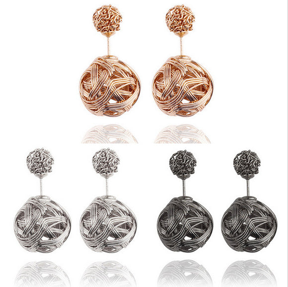 E032 Explosion models foreign trade earrings metal winding tangled irregular earrings  hot earrings wholesale