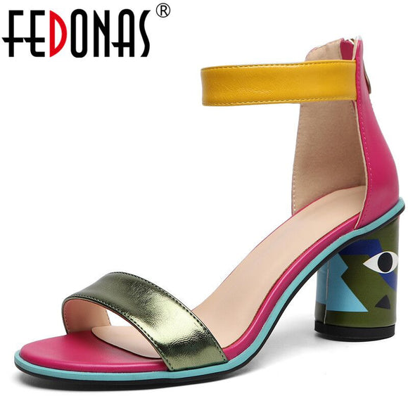 FEDONAS 2020 Women Sandals Prints High Heels Summer Party Wedding Shoes Microfiber Woman Sexy Peep Toe Heels Pumps New Sandals