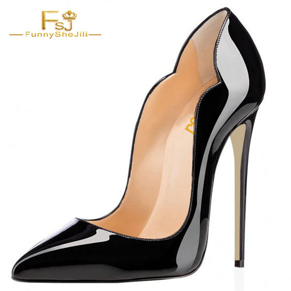 FSJ Black Office Heels Stiletto Heels Patent Leather Formal Dress Shoes 2018 Summer Shoes Woman Pumps Patent Leather Sexy Size 9