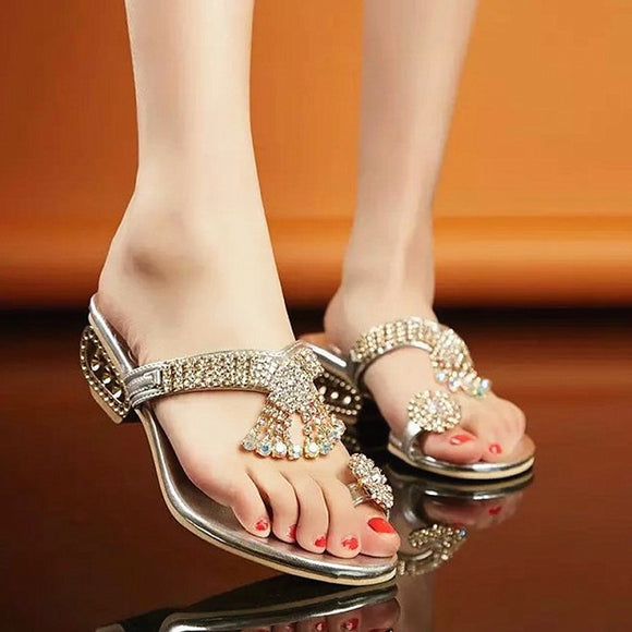 Factory straight slippers young women  early sunny season   foot wear & slippers lovish style rhinestones toe plus size foreign trade women's shoes