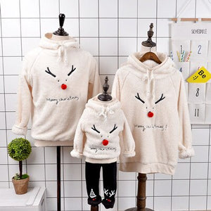 Family Look Christmas Family Matching Outfits Winter Christmas Sweater Red Nose Deer Fleece Hoodies Dad Mom Baby Family Suit