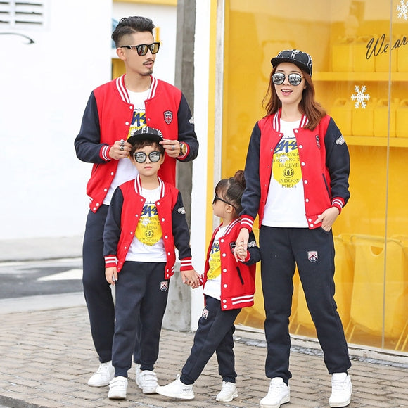 Family Matching Clothing 2020 Autumn Dad Son Mom Daughter Baseball Uniform Suit Sports Family Sets Children Causal Clothing Sets