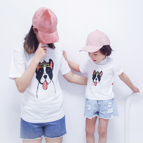 Family Tshirt 2020 Family Matching Clothes Dog Parttern Father Mother Daughter Son Tshirt Clothing Daddy Mommy And Me Tops