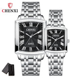Fashion Couple Watches Women Men Watch Lover's Gift Clock Silver Stainless Steel Calendar Retro Classic Watch 3ATM Waterproof