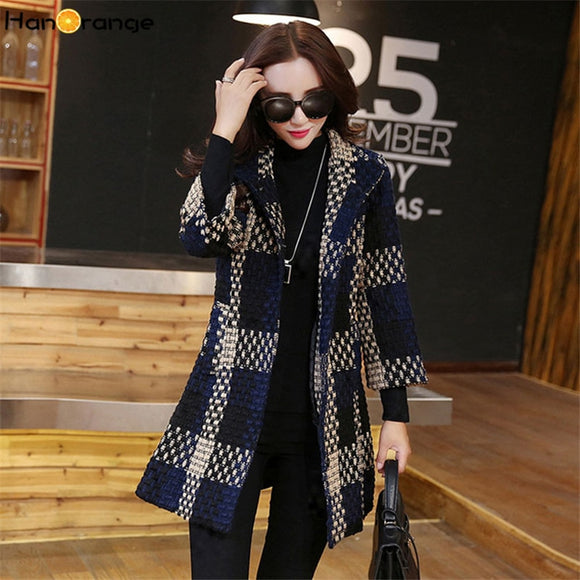 HanOrange 3 Quarter Sleeve Weave Plaid Pocket Temperament Elegant Contexture 2020 Winter Slim Woolen Long Coat Plus Size