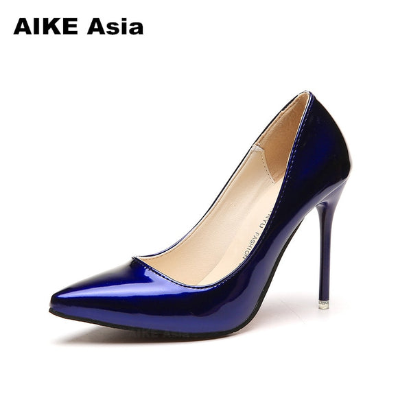Hot Women Shoes Pointed Toe Pumps Patent Leather Dresshigh Heels Boat Wedding Zapatos Mujer Red wedding Blue Red Black Apricot 1