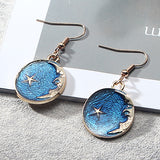Japanese and Korean girl blue heart starry earrings small fresh net red long tassel asymmetrical earrings earrings female