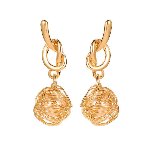 Korean fashion Asian gold earrings knotted winding hollow pearl earrings earrings Korea Dongdaemun trend earrings