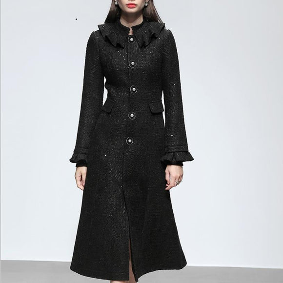 Long runway Autumn and Winter tweed coat woolen coat women's 2020 new