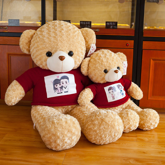 Manufacturers new genuine plush toy sweater bear large couple teddy bear doll creative birthday gift wholesale