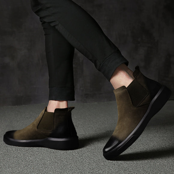 Martin boots men's leather  spring   men's lovish style casual wear men's boots in the thick-soled shoes Chelsea boots