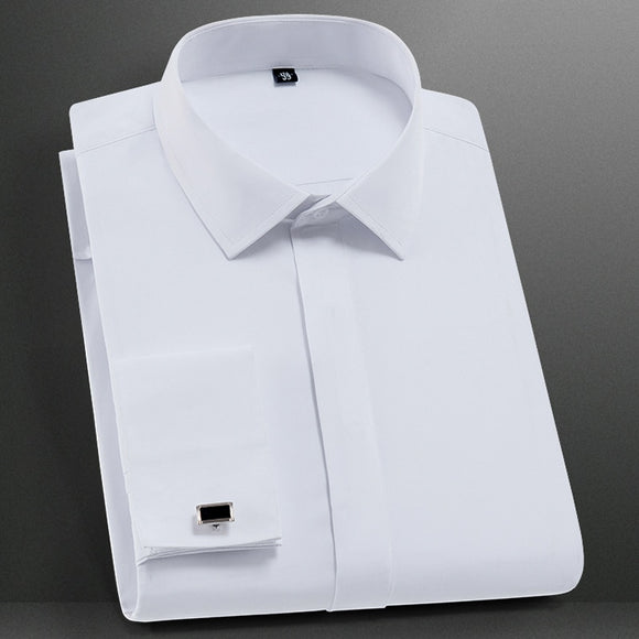 Men's Classic French Cuffs Solid Dress Shirt Covered Placket Formal Business Standard-fit Long Sleeve Shirts (Cufflink Included)