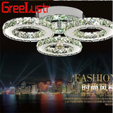Modern Crystal Rings Ceiling Chandelier Lights Silver Crystal Led Plafonnier for Bedroom Kitchen Ceiling Lamp Lustre
