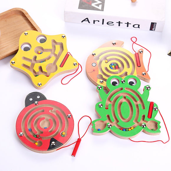 Montessori Toys educating wood Toy for baby Early Learning magnetized Maze puzzle Labyrinth Brain Teaser puzzle educativo