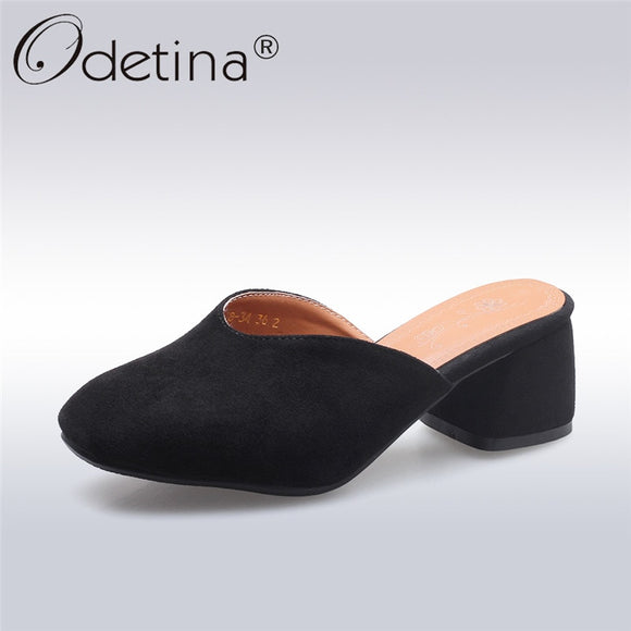 Odetina 2019 New Fashion Square Heels Mules For Women Shallow Slip On Casual Shoes Square Toe Low Heels Mule Shoes Big Size 46 1
