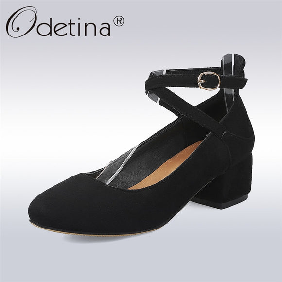 Odetina 2019 New Fashion Women Square Toe Flock Pumps Ankle Strap Casual Sweet Shoes Ladies Square Low Heels Buckle Footware