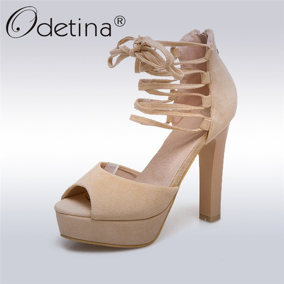 Odetina New Fashion Platform High Heels Lace Up Sandals Women Peep Toe Shoes Elegant Ankle Strap Cross Tied Zipper Summer Shoes