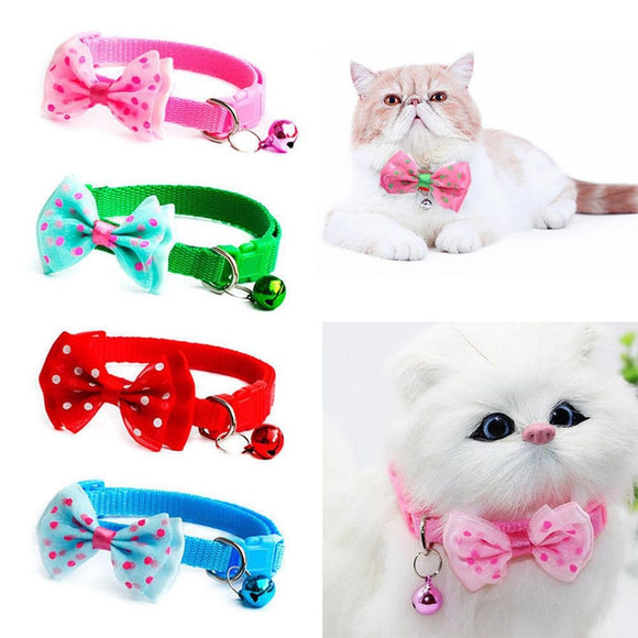 Pet Cat Bowknot Necktie Collar With Bell Adjustable Collar Nylon Collar Puppy Safety Casual Necklace Pet Cat Leash Accessories
