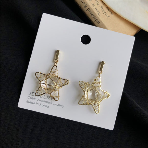 S925 silver needle winding hollow star earrings female Korean personality five-pointed star geometric earrings earrings 293