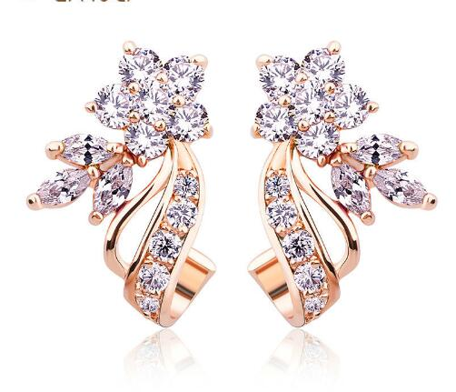 Stud Earrings with Flower Shape White/Multicolor 