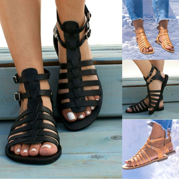 Summer Women Shoes Strappy Gladiator Flat Beach Sandals Ladies Fashion Roman Flat Toe Sandals Casual Shoes Sandals Size 36- 43