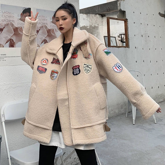 Vintage Winter 2020 Lamb Wool Thick Coat Spring Faux Fur Long Coat Women Lamb Fur Jacket  Winter Suede Leather Jacket