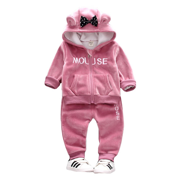 Warm Baby Girls Clothing Set Winter Thick Plush Cotton Clothing Sets For Baby Girls Hoodies And Pants Kids Suit Children Clothes