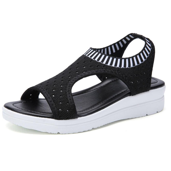 Women Summer Sandals Slip-on Flat Ladies Sandals Comfy Wedge Female Shoes Fashion Breathable Girls Sandals WJ043