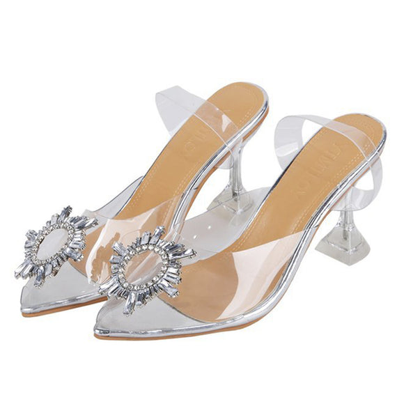 Women Transparent Sandals Elegant Rhinestone High Heels Summer Sandals Ladies High Pumps 7CM Wedding Party Sexy High Heel Shoes