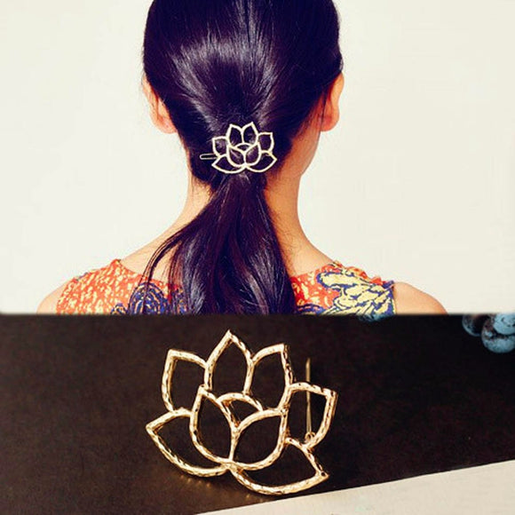 Women's trendy Hair Accessorie Lotus Retro style Hairpin Hair Clips hat Flower Hair add-ons