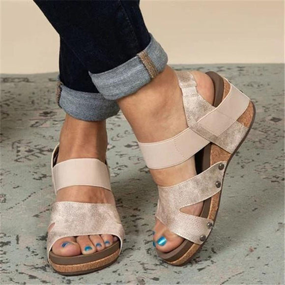 YOEYEDIAN Sexy High Heels Wedge Slippers Women Leather Sandals Plus Size Beach Sandals Summer Platform Strap Shoes Ankle Sandals